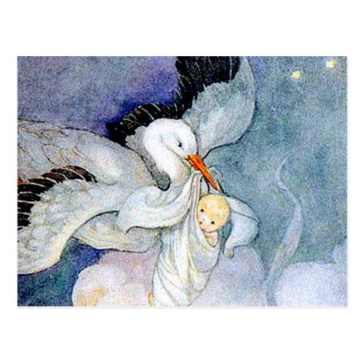 Storch und Baby Postkarte