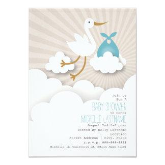 Storch + Wolken-Babyparty - Blau 11,4 X 15,9 Cm Einladungskarte