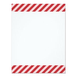 [STR-RD-1] Rote und weiße Zuckerstange striped 10,8 X 14 Cm Einladungskarte