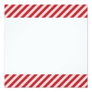 [STR-RD-1] Rote und weiße Zuckerstange striped Quadratische 13,3 Cm Einladungskarte