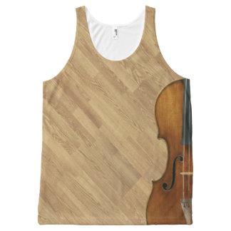 Stradivari Violine auf hölzernem Platten-Effekt Komplett Bedrucktes Tanktop