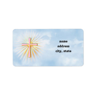 Strahlen des Lichtes vom religiösen Kreuz Adressaufkleber
