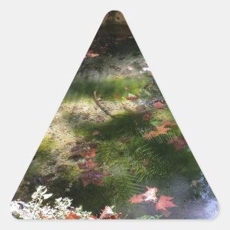 Strahlen und Blätter auf Wasser Dreieckiger Aufkleber