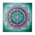 Strahlendes Sri Yantra Mandala III Fliese