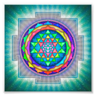 Strahlendes Sri Yantra Mandala III Fotodruck