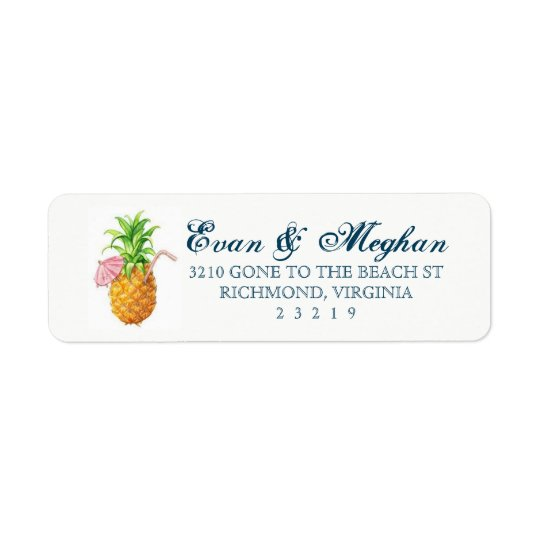 Strand-Ananas-kundengerechter Aufkleber Rücksendeetikett
