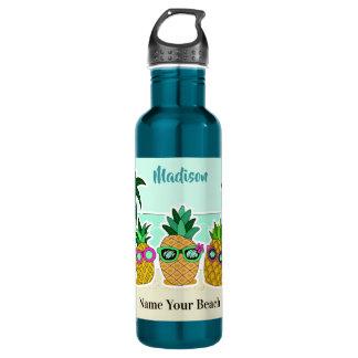 Strand-Ananas-Name- u. -standortflaschen Trinkflasche