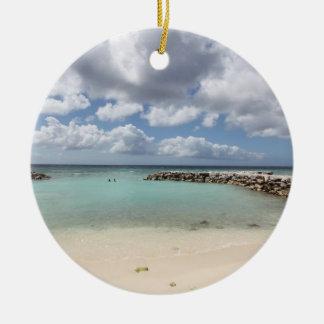 Strand auf De-Palmen-Insel - Aruba Keramik Ornament