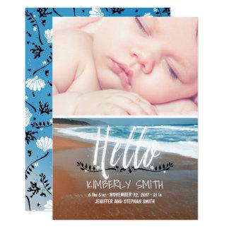 Strand-Baby-Geburts-Foto-Mitteilung hallo 12,7 X 17,8 Cm Einladungskarte