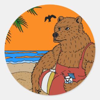 Strand-Bärn-Aufkleber Runder Aufkleber