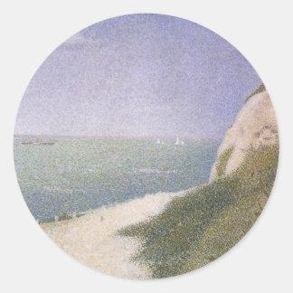 Strand bei Honfleur durch Georges Seurat, Vintage Runder Aufkleber