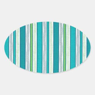 Strand-blaue Streifen Ovaler Aufkleber
