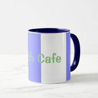 Strand-Café--Cabana-Streifen (c) Blaubeere-Weiß Tasse