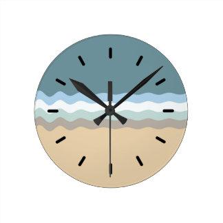 Strand-Farbhellbrauner Sand-beige Türkis-Blau Runde Wanduhr