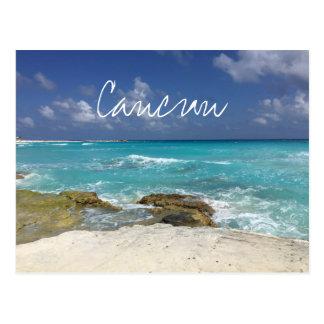 Strand-felsige Ozean-Wellen Cancun Mexiko Postkarte