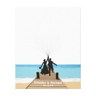 Strand-Fingerabdruck-BallonGuestbook Galerie Gefaltete Leinwand