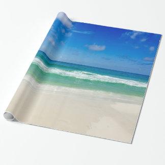 Strand-Fotografie-blaue Himmel mit Wellen Geschenkpapier