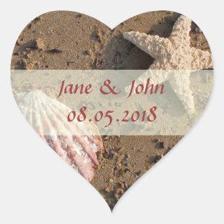 Strand-Gastgeschenk Hochzeits-Aufkleber Herz-Aufkleber