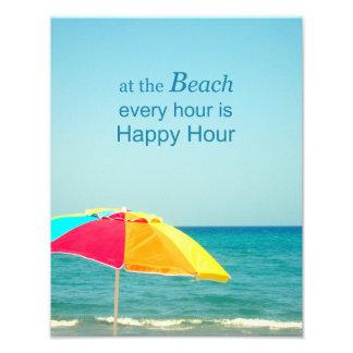 Strand-glückliche Stunden-Sprichwort-Foto Fotodruck