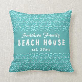 Strand-Haus-aquamariner Kissen