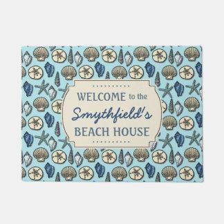 Strand-Haus-personalisierte Muscheln-blaues See Türmatte