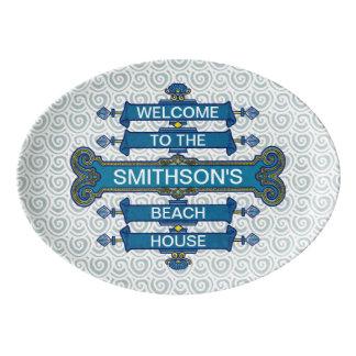 Strand-Haus-Zeichen mit Porzellan Servierplatte