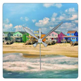 Strand-Häuser Quadratische Wanduhr
