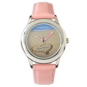 Strand-Herz-Uhr mit individuellen Namen Uhr