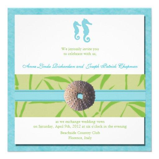 Strand-Hochzeit - blaue Hochzeit des Aqua lädt ein Individuelle Ankündigung