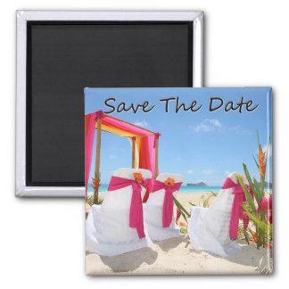 Strand-Hochzeit in Urlaubsort Quadratischer Magnet