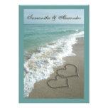 Strand-Hochzeit in Urlaubsorts-12x18, Sand-Herzen Einladungskarten