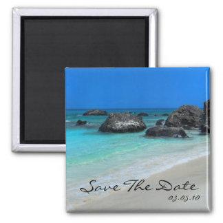 Strand-Hochzeit in Urlaubsorts-Save the Date Quadratischer Magnet