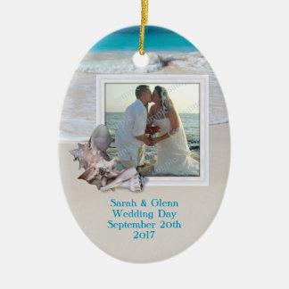 Strand-Hochzeits-Andenken-Foto-Verzierung Keramik Ornament