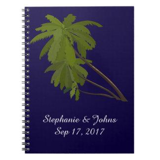 Strand-Hochzeits-Braut-Bräutigam-tropische Palmen Spiral Notizblock