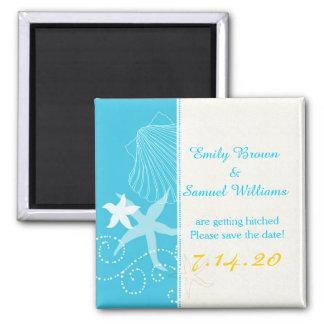 Strand-Hochzeits-Einladung Starfish-Paar-Malibus Quadratischer Magnet