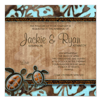 Strand-Hochzeits-Einladungs-Schildkröte blaues Karte