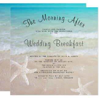 Strand-Hochzeits-Frühstücks-Quadrat-Einladungen Karte