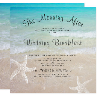 Strand-Hochzeits-Frühstücks-Quadrat-Einladungen Quadratische 13,3 Cm Einladungskarte