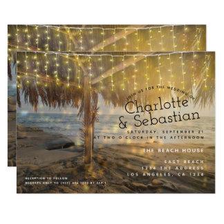 Strand-Hochzeits-Licht-Schnur personalisiert Karte
