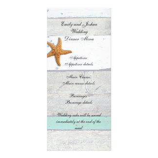 Strand-Hochzeits-Menü rehabilitiertes Werbekarte