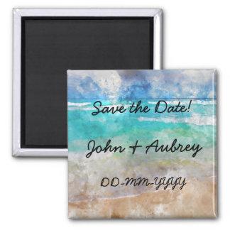 Strand-Hochzeits-Save the Date kundenspezifischer Quadratischer Magnet