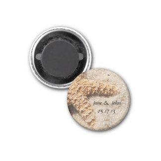 Strand-Hochzeits-Save the Date Magnet - Runder Magnet 3,2 Cm