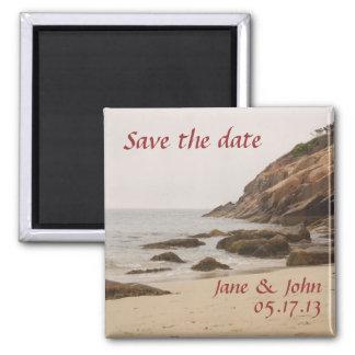 Strand-Hochzeits-Save the Date Magnet - felsiger S Quadratischer Magnet