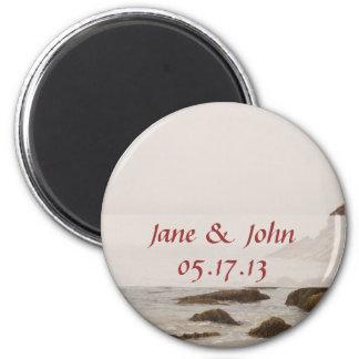 Strand-Hochzeits-Save the Date Magnet - felsiger S Runder Magnet 5,1 Cm