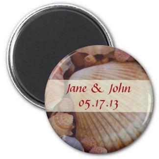 Strand-Hochzeits-Save the Date Magnet - SeeMuschel Runder Magnet 5,7 Cm
