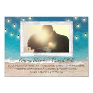 Strand-Hochzeits-Schnur-Lichter mit Foto 12,7 X 17,8 Cm Einladungskarte