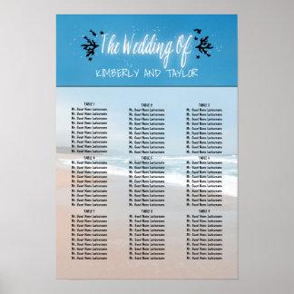 Strand-Hochzeits-Sitzplatz-Diagramme Poster