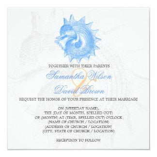 Strand-Hochzeits-Vintages Molluske-Muschel-Blau Quadratische 13,3 Cm Einladungskarte