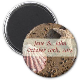Strand-HochzeitSave the Date Seashell-Magnet