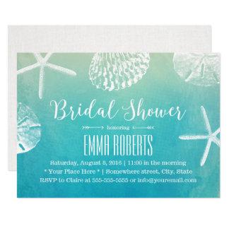 Strand-HochzeitSeashellswatercolor-Brautparty Karte